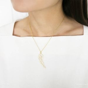 Angel Wing Detailed Gold Plated Necklace